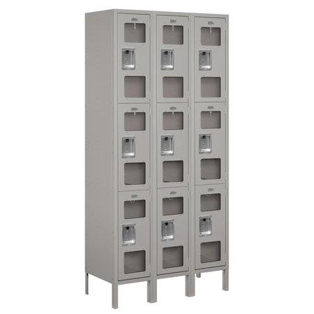See-Through Metal Locker - Triple Tier - 3 Wide - 6 Feet High - 15 Inches Deep - Gray - Assembled