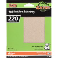 Gator Grit 4.5-Inch X 5.5-Inch 1/4 Sheet Clamp-On Sandpaper, 220 Grit, 6-Pack