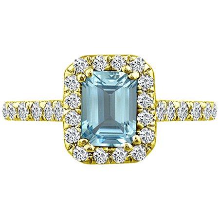 1.82 tcw Emerald Cut Aquamarine & Natural Diamond Halo Ring 14k Yellow (Natural Aquamarine Emerald)