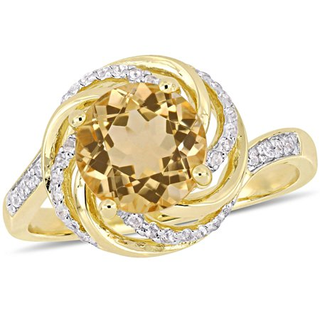 1-7/8 Carat T.G.W. Citrine, White Topaz and Diamond-Accent Yellow-Plated Sterling Silver Swirl Ring - Ring Eraser