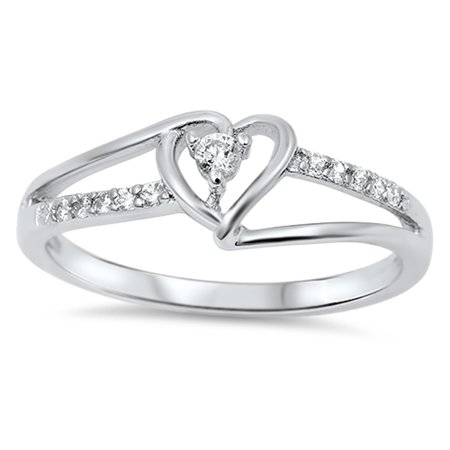 Sterling Silver Women's Flawless Colorless Cubic Zirconia Round Solitaire Promise Heart Ring (Sizes 3-12) (Ring Size 4)