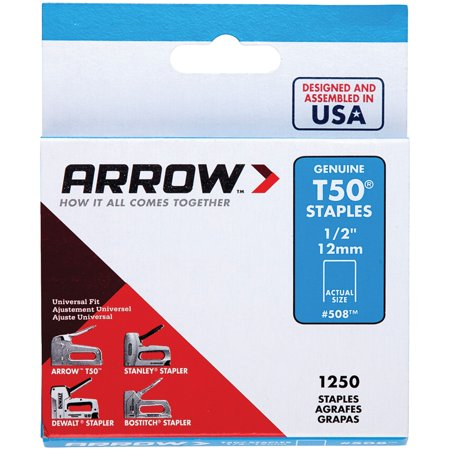 Arrow 1/2-Inch T50 Staples, 1250 Count