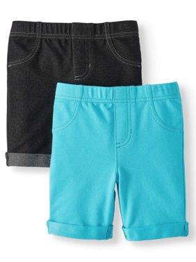 Knit Denim Bermuda Shorts, 2-Pack (Little Girls & Big Girls)
