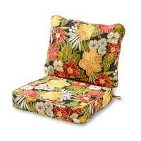 Greendale Home Fashions Outdoor Deep Seat Cushion Set, Aloha Black