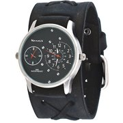223c3e6d1 KFXB220K Men's Charcoal Black Wide Leather Band Dual Time Zone Watch