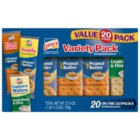 Lance Sandwich Crackers Variety Pack of ToastChee and Toasty with Peanut Butter and Captain's Wafers with Cream Cheese, 20 Ct