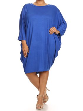 Plus Size Women's Trendy Style 3/4 Sleeves Solid Dress