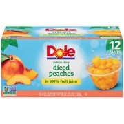(12 Cups) Dole Fruit Bowls Yellow Cling Diced Peaches in 100% Fruit Juice, 4 oz cups