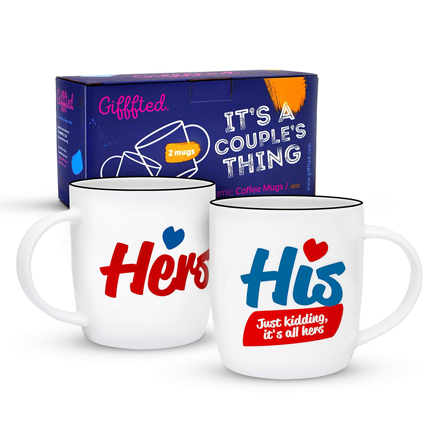Gifffted Wedding Anniversary Gifts Mugs For Couples Just Kidding Itu0027s All Hers Coffee Mugs  sc 1 st  Walmart & Anniversary Gifts for Couples