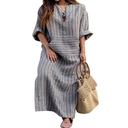 Nicesee Women Long Sleeve Loose Vintage Cotton Linen Dress Plus