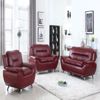 Norton Burgundy Faux Leather 3 PC Modern Living Room Sofa set