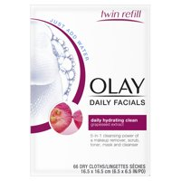 Olay Daily Facial Hydrating Cleansing Cloths w/ Grapeseed Extract, Makeup Remover 66 Count