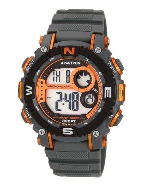 Armitron Men's Digital Sport Watch, Grey and Orange, Resin Strap