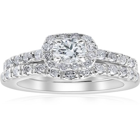 Halo Wedding Set - 1 1/4Ct Cushion Halo Diamond Engagement Matching Wedding Ring Set 14K White Gold