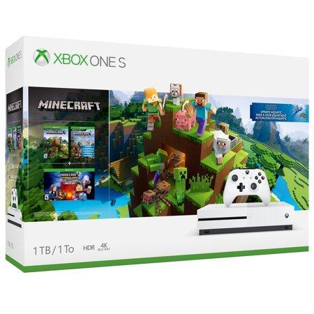 Microsoft Xbox One S 1TB Minecraft Bundle, White, (Xbox One S Minecraft Bundle Cyber Monday)