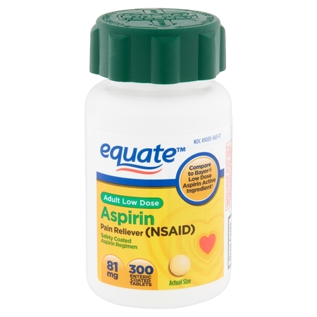 Equate Adult Low Dose Aspirin Enteric Coated Tablets, 81 mg, 300 count - Enteric Coated Laxative