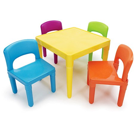 Tot Tutors Kids Plastic Table And 4 Chairs Set Multiple