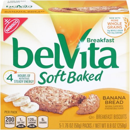 (6 Pack) Belvita Soft Baked Banana Bread Breakfast Biscuits, 8.8 Oz ()