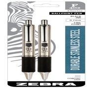Zebra Pen F-402 Ballpoint Stainless Steel Retractable Pen, Fine Point, 0.7mm, Black Ink, 2-Count