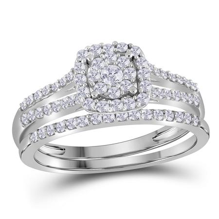 10kt White Gold Womens Round Diamond Bridal Wedding Engagement Ring Band Set 1/2 Cttw