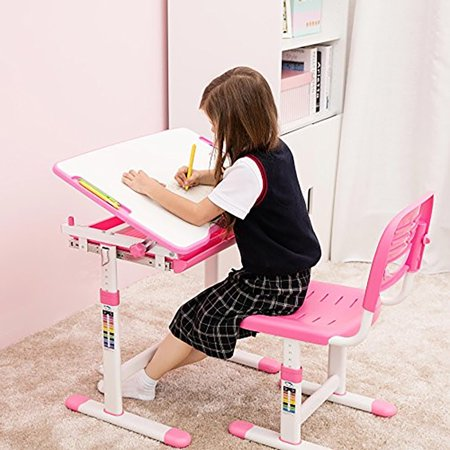 Children Desk Kids Study Child School Adjustable Height Student Table Chair Set with Storage Perfect Gift For Kids-Pink