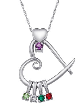 "Personalized Family Jewelry Birthstone Mother's Heart Pendant 20 "" available in Sterling Silver, 14K Gold over Silver"
