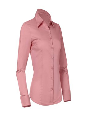 Button Down Shirts for Women, Fitted Long Sleeve Tailored Shirt Blouse (X-Small, Pink)