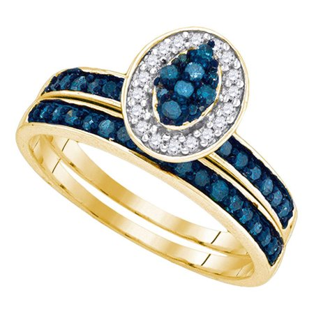 - 10kt Yellow Gold Womens Blue Color Enhanced Diamond Cluster Bridal Wedding Engagement Ring Band Set 1/2 Cttw