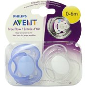 (2 Pack) Philips Avent Freeflow Pacifier 0-6m, Color may vary, 2 pack, SCF178/23