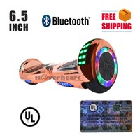 "Hoverboard Bluetooth Two-Wheel Self Balancing Electric Scooter 6.5"" UL 2272 Certified with Bluetooth Speaker and LED Light Chrome Blue"