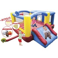 PicassoTiles KC102 12' x 10' Inflatable Bouncer Jumping Bouncing House, Jump Slide and Dunk Playhouse Featuring Basketball Rim, 4 Sports Balls, Extended Slider, Full Size Entry and Quick Setup