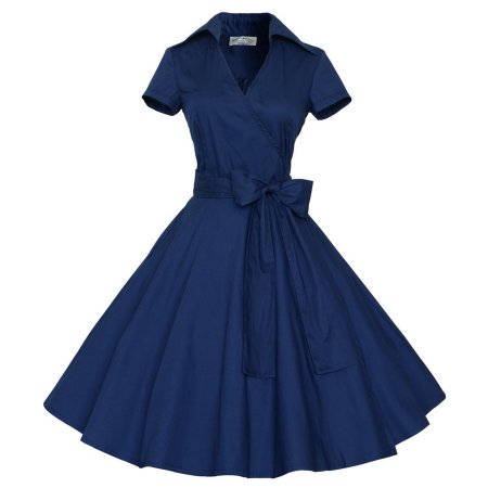 Women Vintage Style 50'S 60'S Swing Pinup Retro casual Housewife Christmas Party Ball Fashion Dress - Casual Lavender Dress