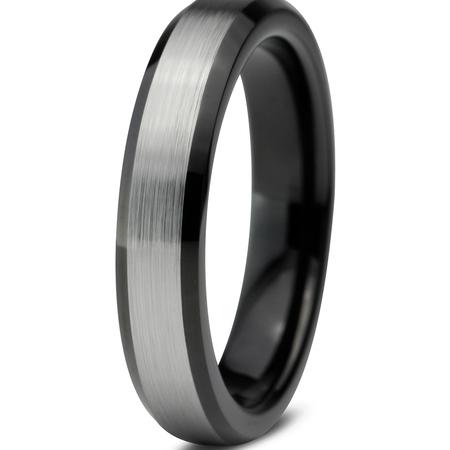 Tungsten Wedding Band Ring 4mm for Men Women Comfort Fit Black  Beveled Edge Brushed Lifetime Guarantee 4mm Comfort Fit Wedding Band
