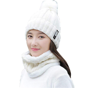 cc9d4f3b1c2e14 2Pcs Women Winter Scarf Hat Warm Set Beanie Set Solid Knitted Thick Neck Warmer  Scarf