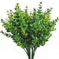 ShrubArts Artificial Greenery Plants Fake Plastic Eucalyptus Leaves Bushes for Wedding, Garden, Indoor Outdoor, Office Verandah Decor,(4 pieces)
