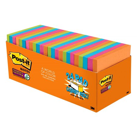 Post-it Super Sticky Notes Cabinet Pack, 3in. x 3in., Rio de Janeiro Collection, 24 Pads