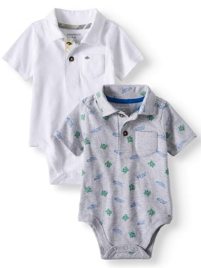 Print & Solid Jersey Polo bodysuits, 2pc Multi-Pack (Baby Boys)