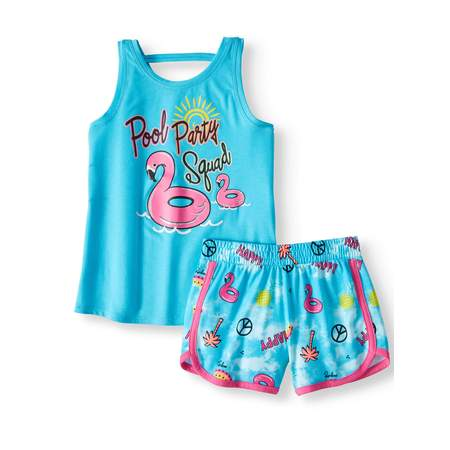 Graphic Tank Top & Short, 2-Piece Outfit Set (Little Girls & Big Girls)