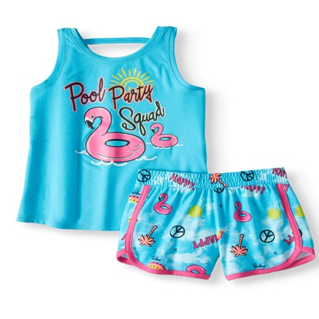 Graphic Tank Top & Short, 2-Piece Outfit Set (Little Girls & Big (Girls Overall Set)