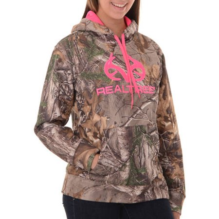 Realtree Camo Hang Tag - and Mossy Oak Women's Camo Performance Pullover Fleece Hoodie