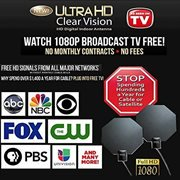 As Seen on TV UHD-12 Ultra HD Clear Vision Antenna, 60 Mile Range