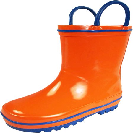 - Norty Waterproof Rubber Rain Boots for Kids - Childrens Rainboots - Easy Pull-On Handles - For Boys and Girls, Toddlers and Big Kids - 100% Rubber/No PVC - Kids can now proudly put on their own boots