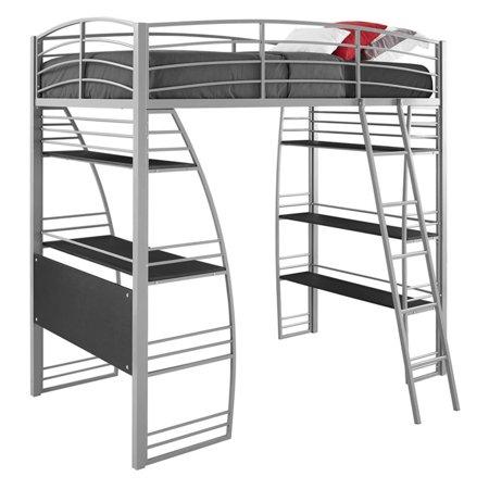 Dorel Dhp Studio Twin Metal Loft Bed With Desk And Shelves