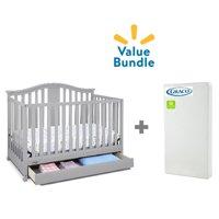 Graco Solano 4 in 1 Convertible Crib with Drawer, Pebble Gray & Premium Foam Crib Mattress