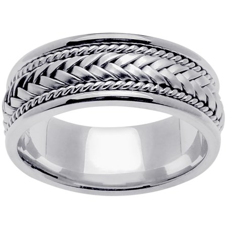 Platinum Basket Braid Handmade Comfort Fit Women's Wedding Band