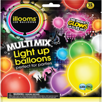 Illooms Latex Light-Up Balloons, Assorted, 9in, 15ct