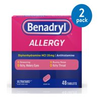 Benadryl Ultratabs Antihistamine Allergy Medicine Tablets, 48 ct