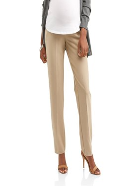 Maternity Full-Panel Straight Leg Career Pants -- Available in Plus Sizes