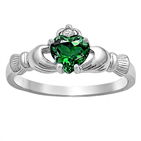Emerald Cut Glass - Brandi: 0.765ct Heart cut Simulated Emerald Claddagh Ring 925 Silver sz 10.5