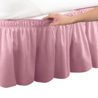 Wrap Around Bed Skirt, Easy Fit Elastic Dust Ruffle, Queen/King, Rose